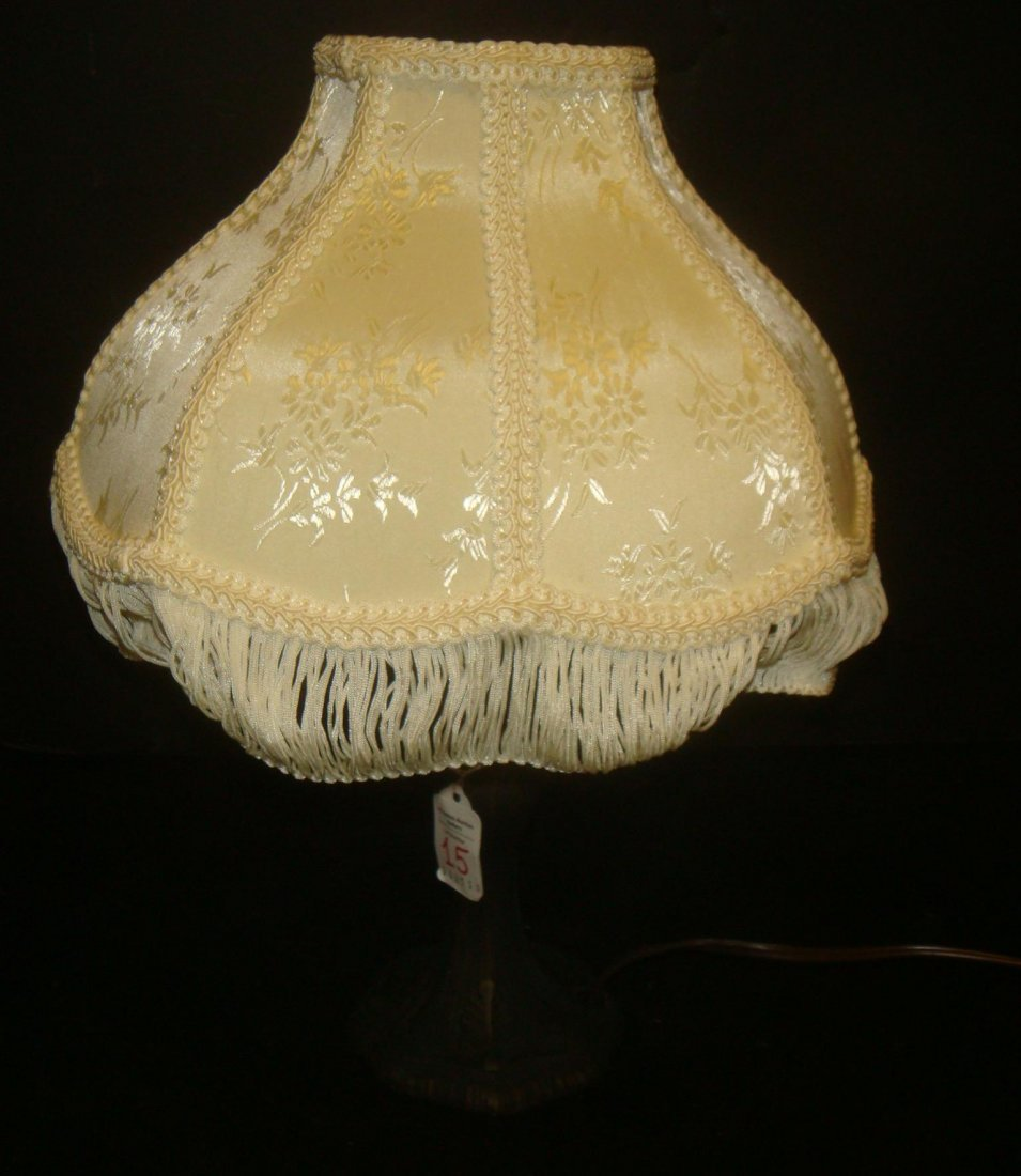 Spelter Lamp with Brocade Shade: