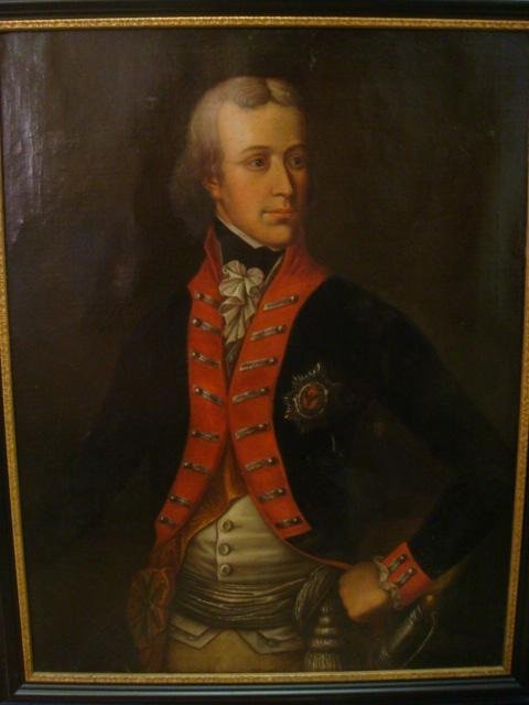 18th C Portrait of Military Officer Oil on Canvas: