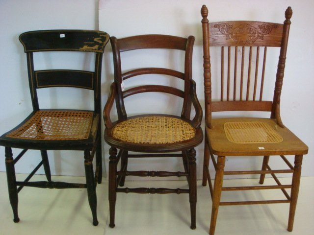 Three Assorted Cane Seat Side Chairs: