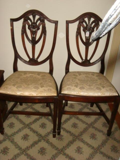 Pair of Open Shield Back Mahogany Side Chairs: