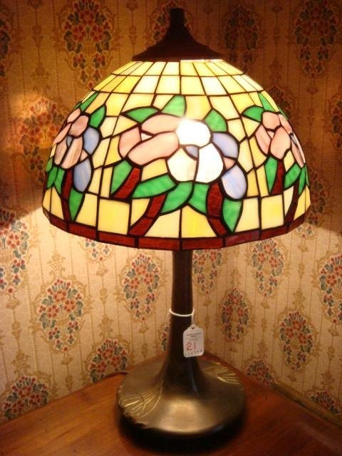 Art Nouveau Style Leaded Glass Dome Shade Table Lamp: