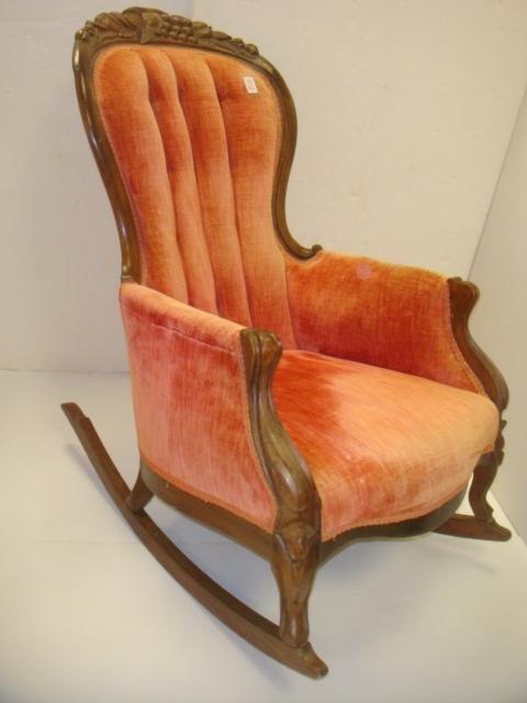 Fruit Carved Velvet Upholstered Victorian Rocker: