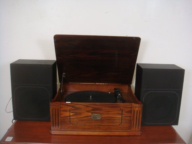 Oak Case Record Player with Speakers: