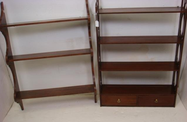 Two Wall Mounted Wooden Plate Racks: