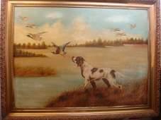Oil on Canvas Signed SARA KOCH Hunt Scene