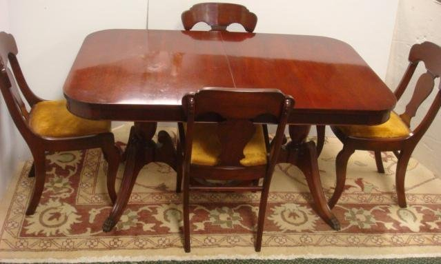 Mahogany Pedestal Dining Table, 4 Tell City Chairs: Part 85