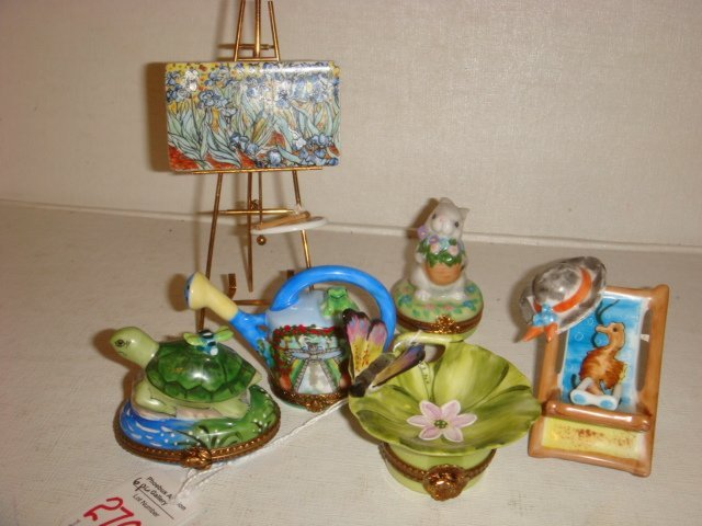 Six Assorted Hand Painted Limoges Items: