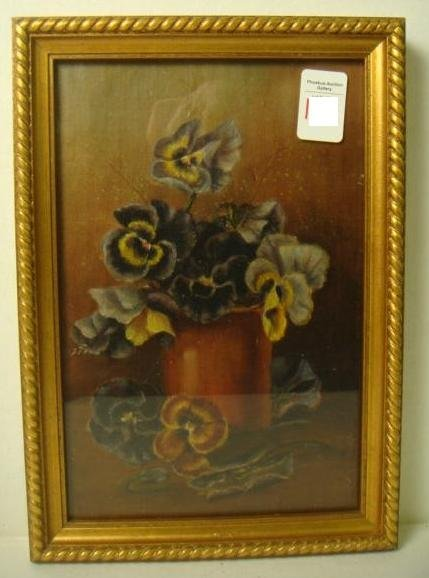 Unsigned Pansey Floral Painting: