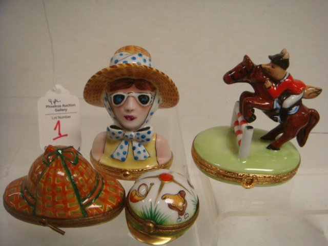 4 LIMOGES Artist Signed Hand painted Boxes: