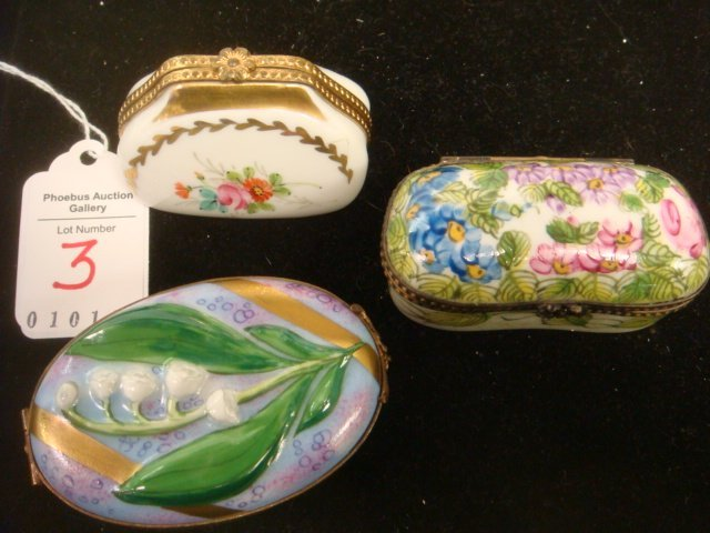 Three Hand-painted LIMOGES Boxes with Floral Themes: