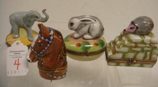 Four Animal Themed Hand painted LIMOGES Boxes: