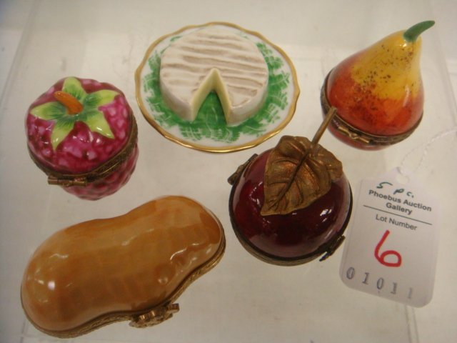 Five Hand-painted LIMOGES Food Themed Boxes: