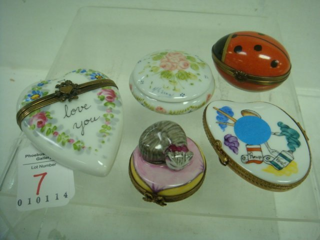 Five Hand-painted LIMOGES Boxes: