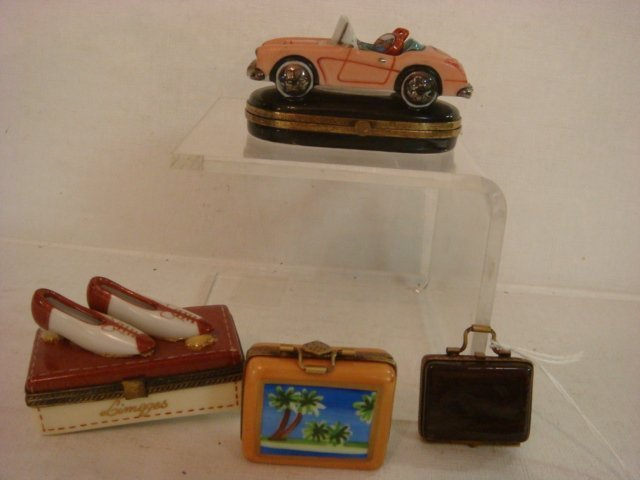 Four Assorted Hand Painted Limoges Travel Theme Boxes: