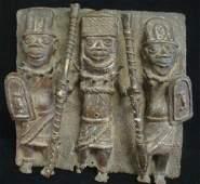 Edo Benin Bronze Plaque with Warriors:
