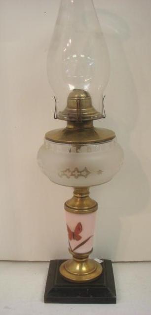 Aesthetic Movement Glass & Brass Kerosene Lamp: