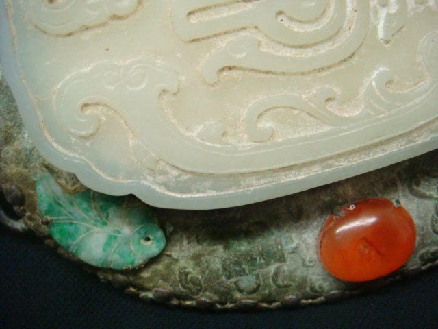 Asian Hand Mirror with White Jade Medallion: - 4