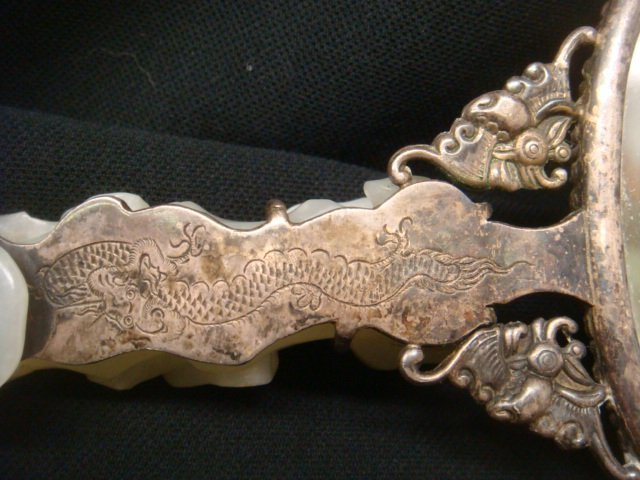 Asian Hand Mirror with White Jade Medallion: - 6