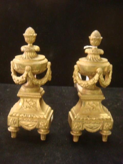 Late 19th C Gilt Bronze Urn Chenets: