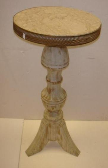 Round French Painted Marble Top Candle Stand: