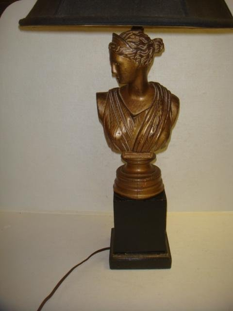 Gilt Wood Lamp, Bust of Greek Goddess Aphrodite: