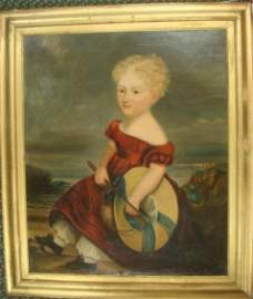 19thC Limner Folk Art Painting of Young Lady: