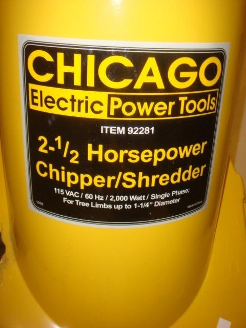 CHICAGO 2.5 HP Electric Chipper/Shredder Model 92281: - 3