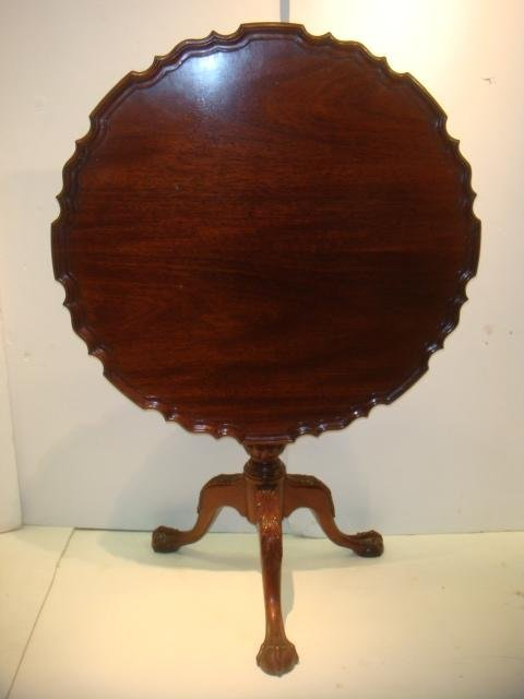 Mahogany Chippendale Style Bird Cage Tilt Top Table: