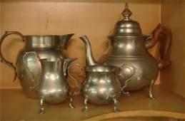STIEFF Pewter Colonial Williamsburg Tea Set, Pitcher: