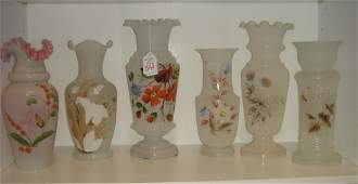 Six Hand painted Victorian Bristol Glass Vases: