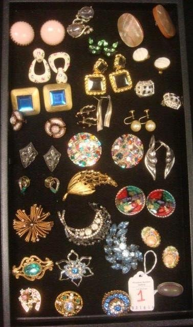 Potpourri of Ladies Costume Pins and Earrings: