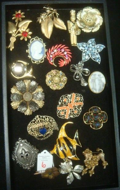 Medley of Costume Jewelry Pins: