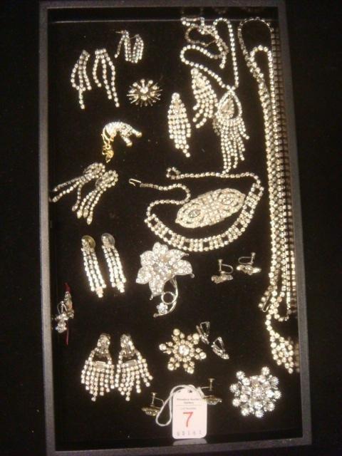 Accumulation of Clear Rhinestone Jewelry: