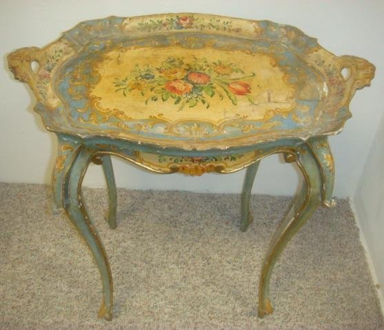 French Louis XV Hand Painted Tray Top Bed Table:
