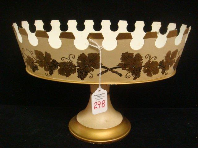 Tole Painted Metal Pedestal Basket: