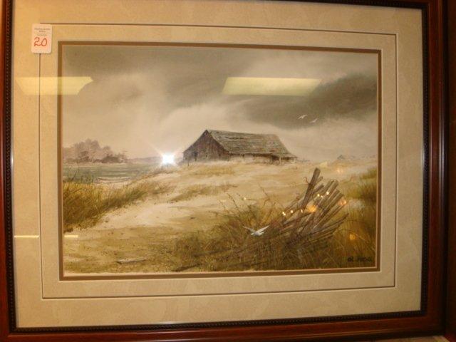 Signed AL FOCA Sandy Landscape with Barn:
