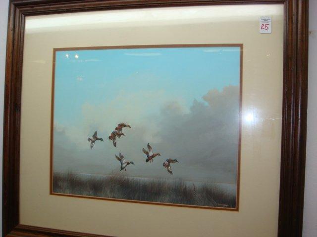 Signed GLYNN MOORE Ducks in Flight Watercolor: