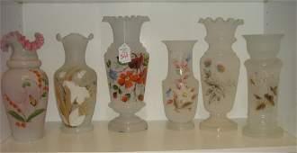 Six Handpainted Victorian Bristol Glass Vases:
