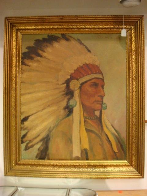 Signed JOHN HENDERSON Oil Portrait of Indian Chief:
