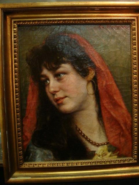 Signed JOS ZENISKE Oil Portrait on Canvas: