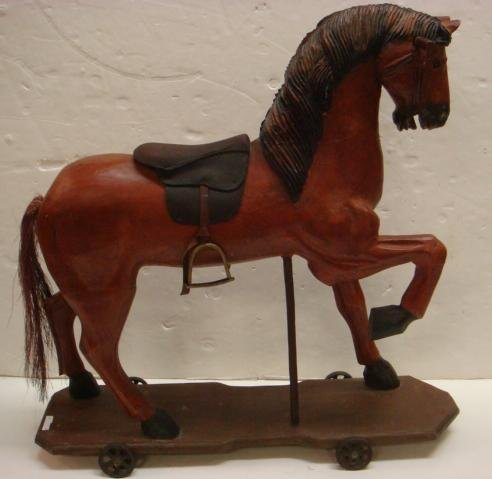 Primitive Style Childs Wooden Horse on Wheels: