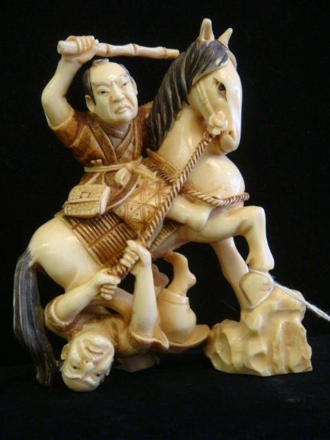 "Signed IVORY Carving ""TAKING DOWN THE DISPATCH RIDER"""