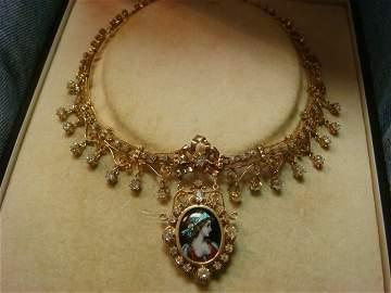 Ladies Vintage Diamond and Porcelain Cameo Collar: