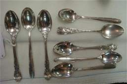Eight Assorted Sterling Silver Demitasse Spoons: