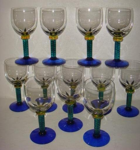 Twelve KOSTA BODA Ken Done Palm Trees Wine Goblets: