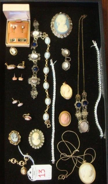 Assemblage of Cameo/Pearl/Rhinestone Costume Jewelry:
