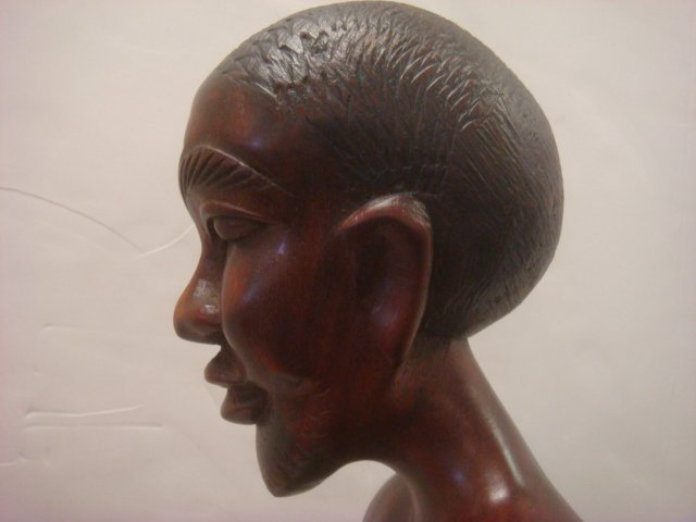 African Male and Balinese Nude Female Carved Statues: - 4
