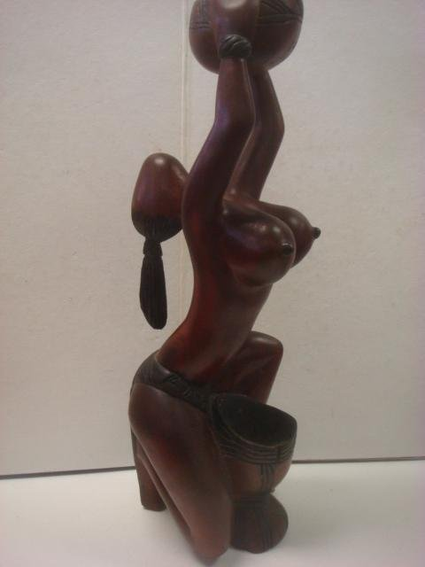 African Male and Balinese Nude Female Carved Statues: - 7