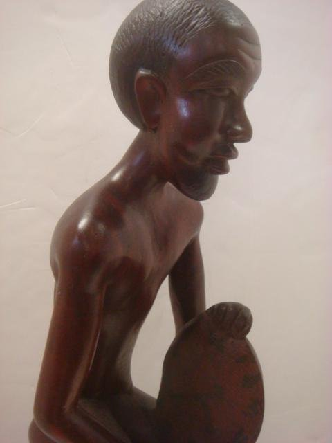 African Male and Balinese Nude Female Carved Statues: - 8