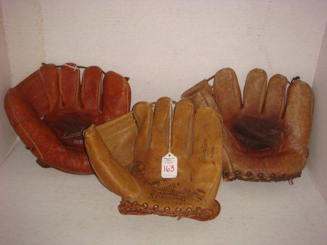 Three Vintage Leather Baseball Gloves: